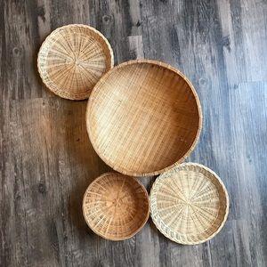 4 Wicker Woven Wall Baskets